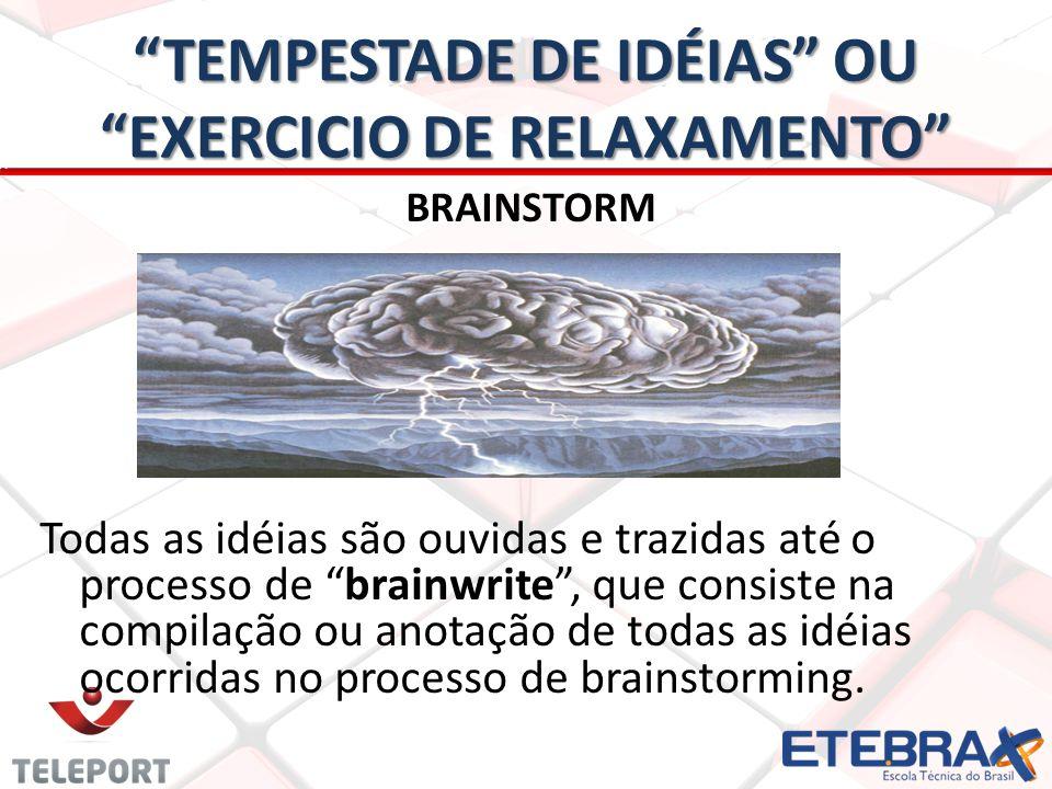 TEMPESTADE DE IDÉIAS OU EXERCICIO DE RELAXAMENTO