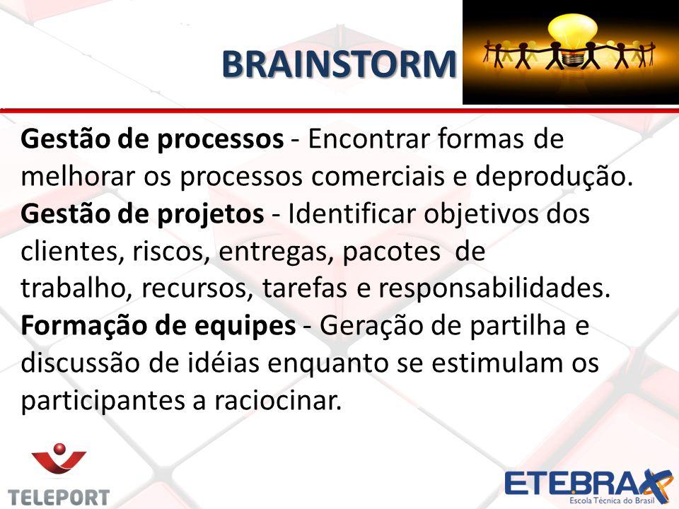 BRAINSTORM Gestão de processos - Encontrar formas de melhorar os processos comerciais e deprodução.