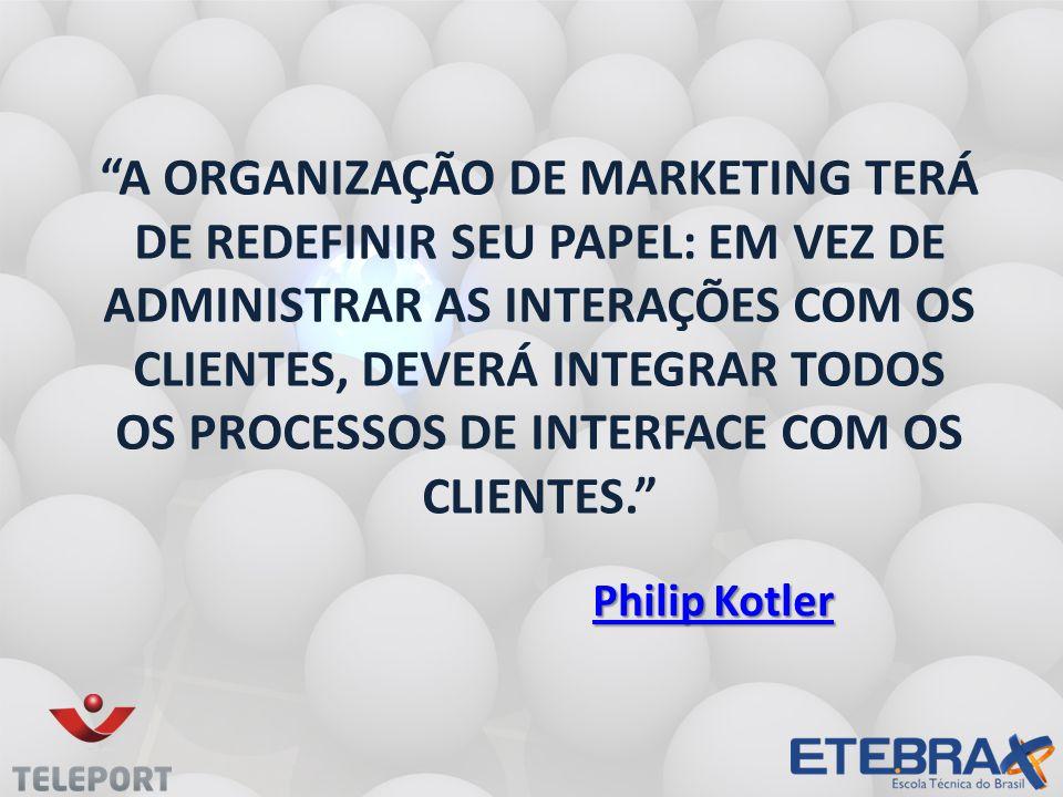 A organização de marketing terá de redefinir seu papel: em vez de administrar as interações com os clientes, deverá integrar todos os processos de interface com os clientes.