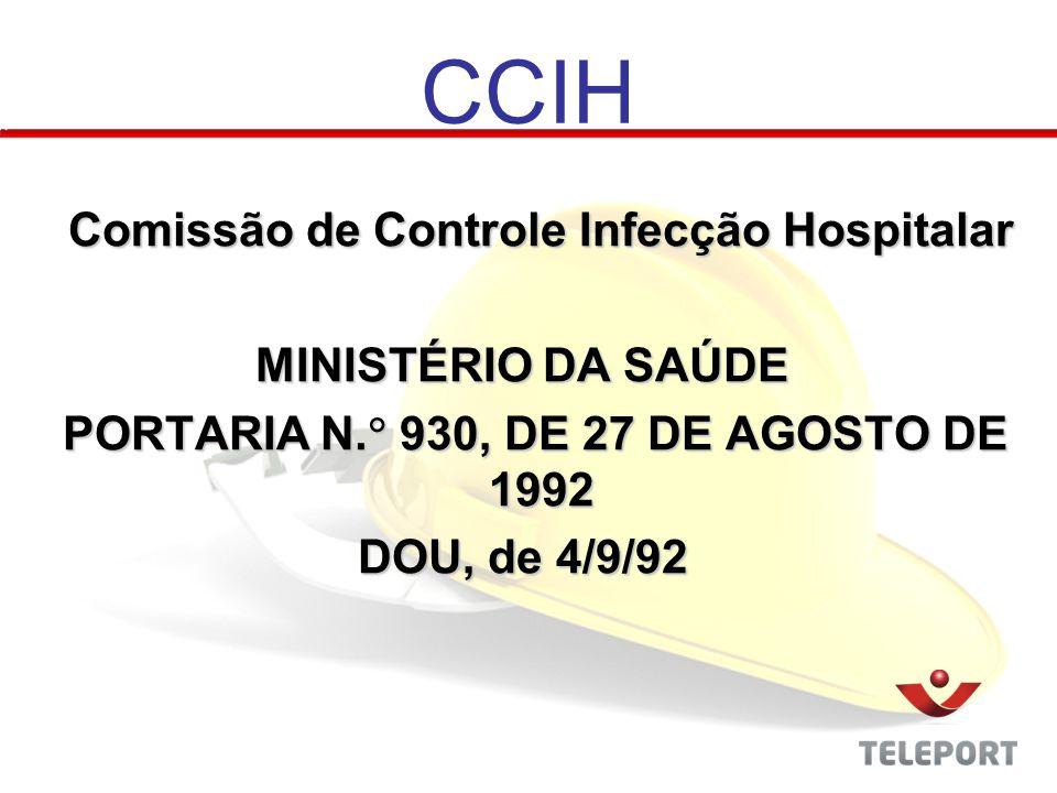 CCIH Comissão de Controle Infecção Hospitalar MINISTÉRIO DA SAÚDE