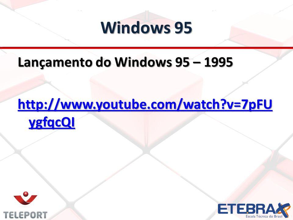 Windows 95 Lançamento do Windows 95 – 1995 http://www.youtube.com/watch v=7pFUygfqcQI