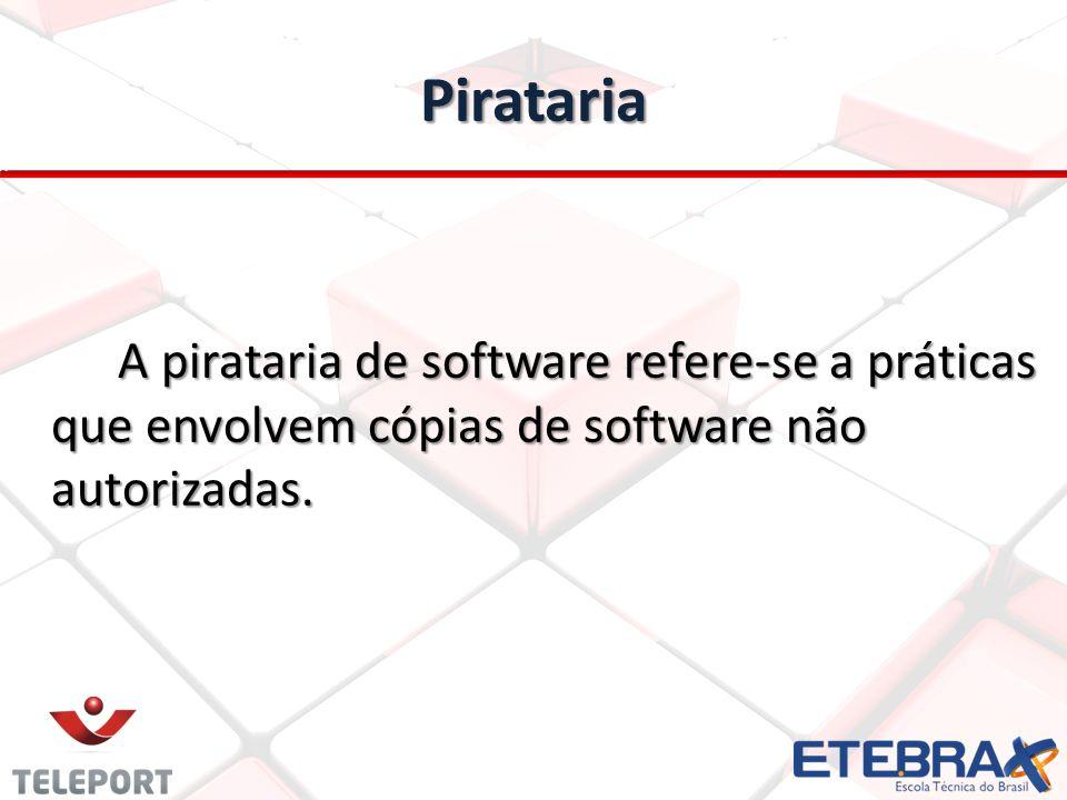 Pirataria A pirataria de software refere-se a práticas que envolvem cópias de software não autorizadas.