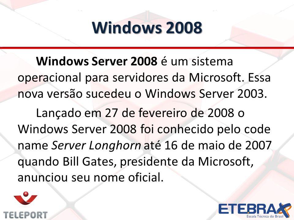 Windows 2008 Windows Server 2008 é um sistema operacional para servidores da Microsoft. Essa nova versão sucedeu o Windows Server 2003.