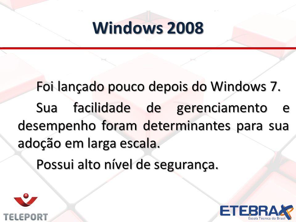 Windows 2008 Foi lançado pouco depois do Windows 7.