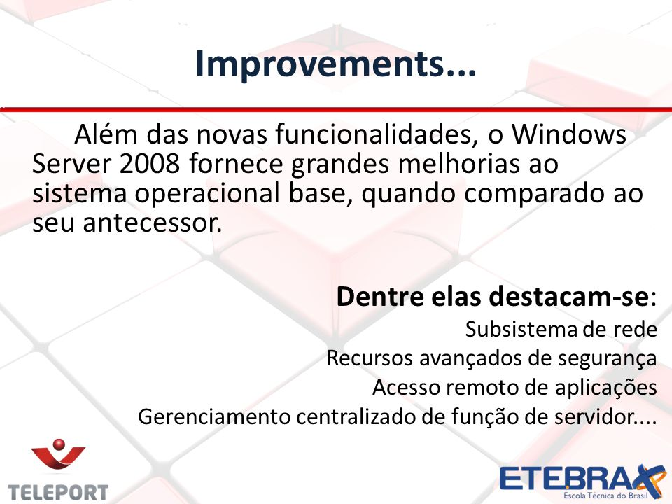 Improvements...