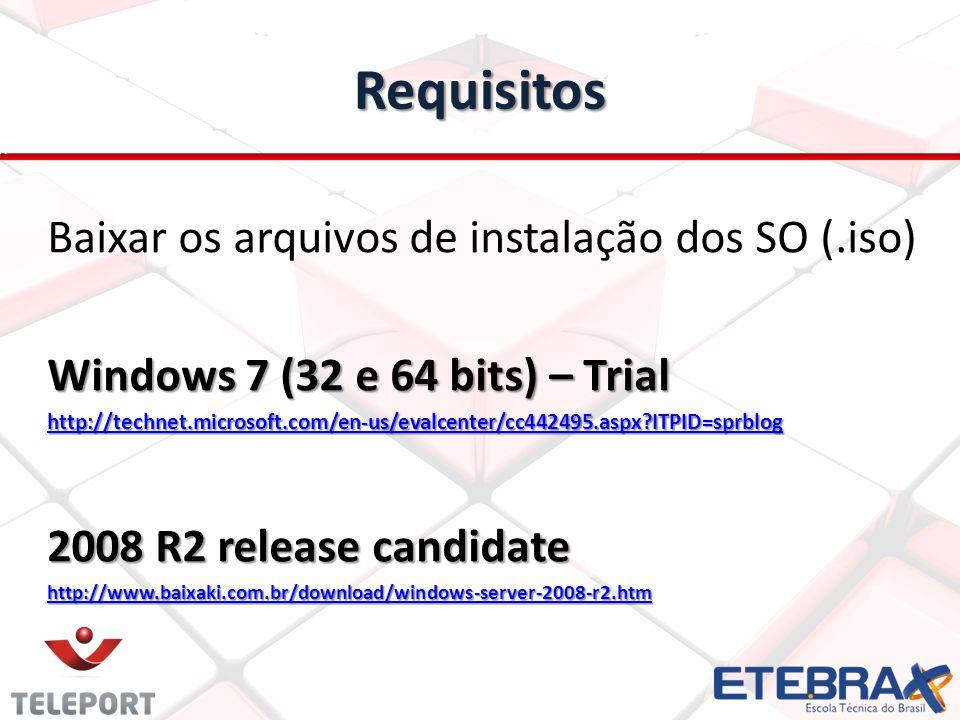 Requisitos Baixar os arquivos de instalação dos SO (.iso)