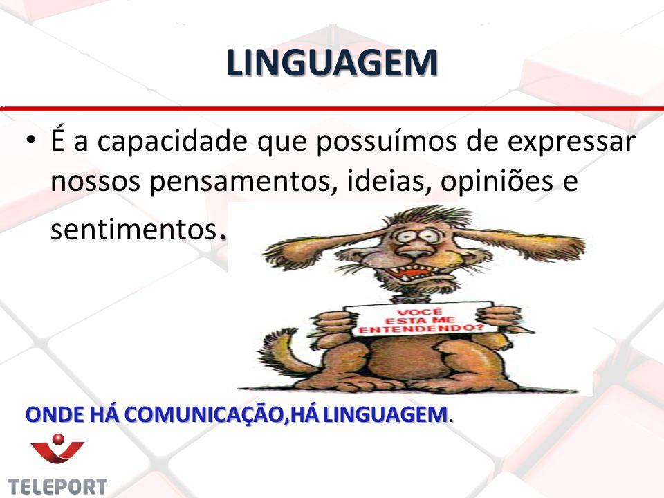 LINGUAGEM É a capacidade que possuímos de expressar nossos pensamentos, ideias, opiniões e sentimentos.