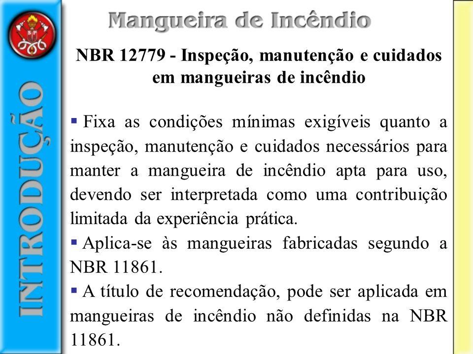 NBR 12779 - Inspeção, manutenção e cuidados em mangueiras de incêndio