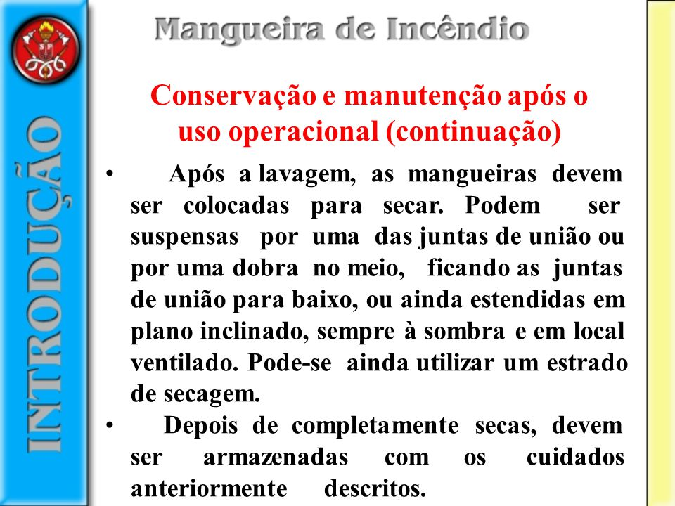 Conservação e manutenção após o uso operacional (continuação)