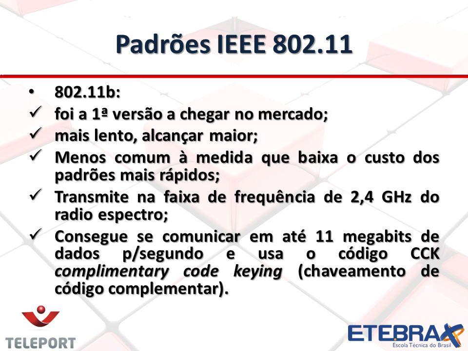 Padrões IEEE 802.11 802.11b: foi a 1ª versão a chegar no mercado;