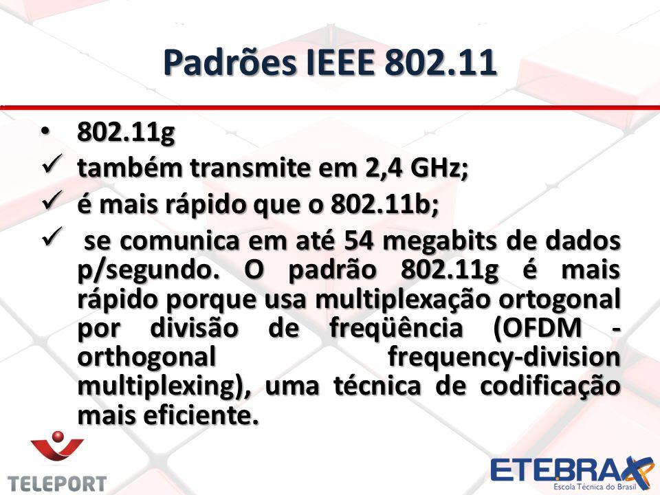 Padrões IEEE 802.11 802.11g também transmite em 2,4 GHz;