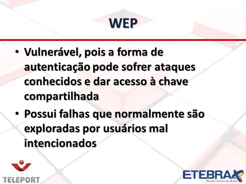 WEP Vulnerável, pois a forma de autenticação pode sofrer ataques conhecidos e dar acesso à chave compartilhada.