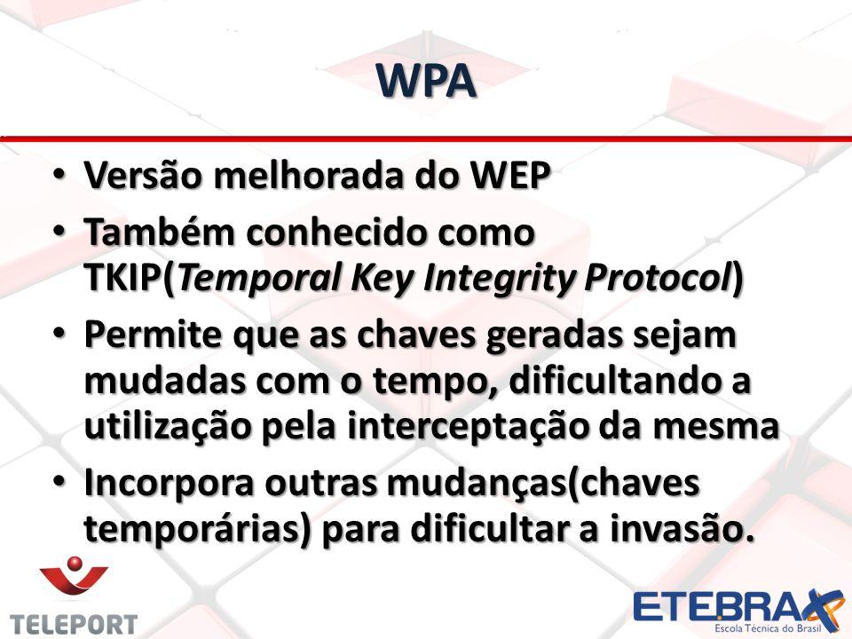 WPA Versão melhorada do WEP