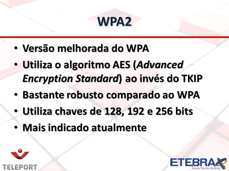 WPA2 Versão melhorada do WPA