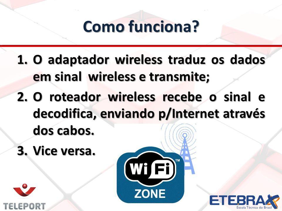 Como funciona O adaptador wireless traduz os dados em sinal wireless e transmite;