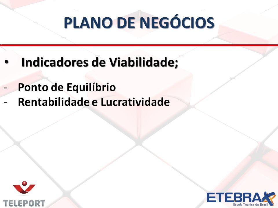 PLANO DE NEGÓCIOS Indicadores de Viabilidade; Ponto de Equilíbrio
