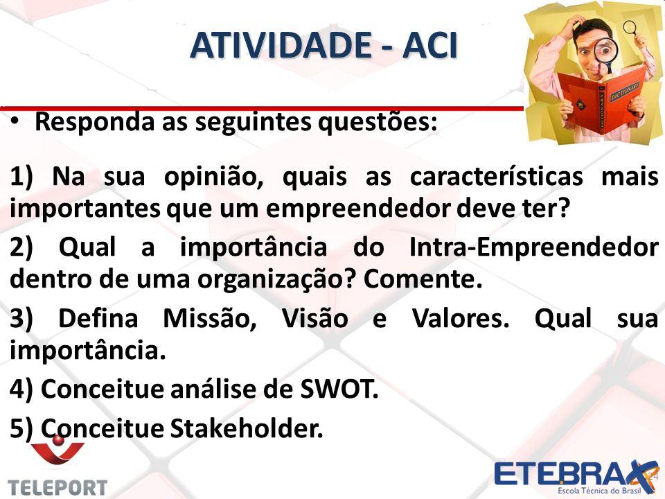 ATIVIDADE - ACI Responda as seguintes questões: