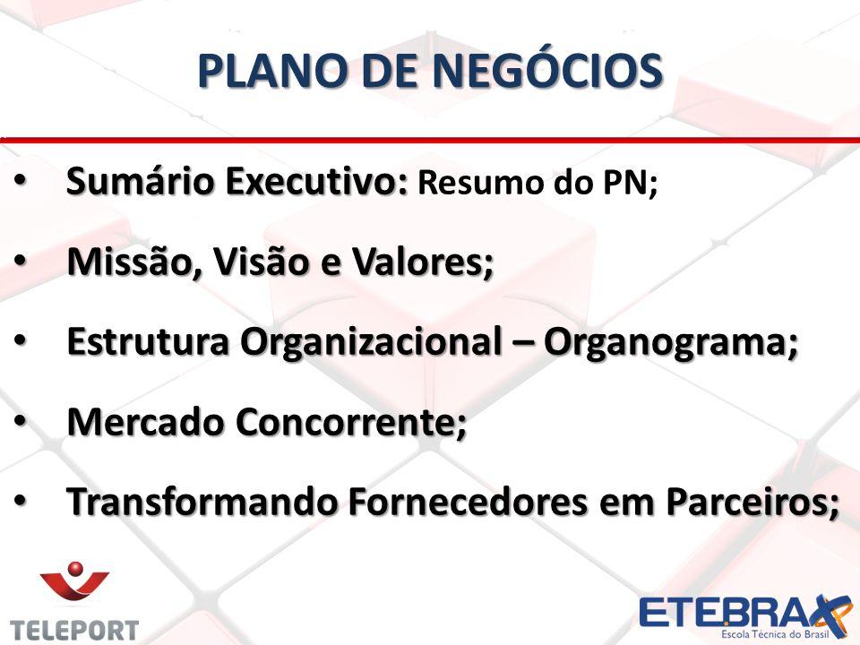 PLANO DE NEGÓCIOS Sumário Executivo: Resumo do PN;