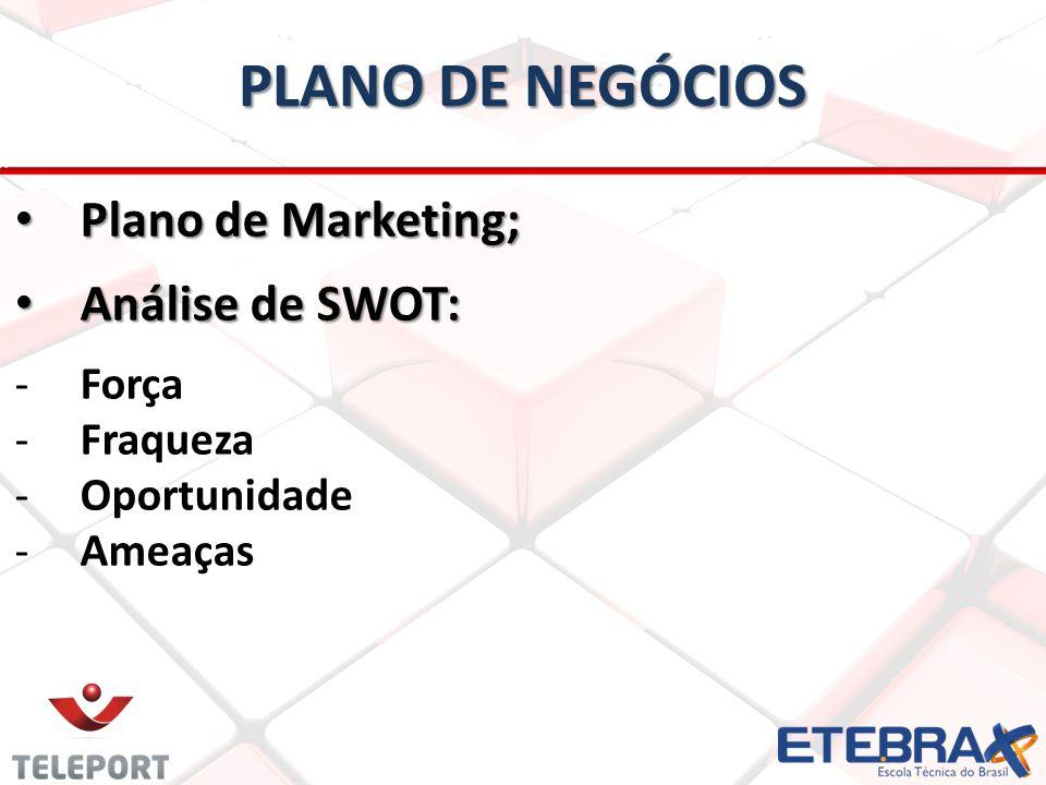 PLANO DE NEGÓCIOS Plano de Marketing; Análise de SWOT: Força Fraqueza