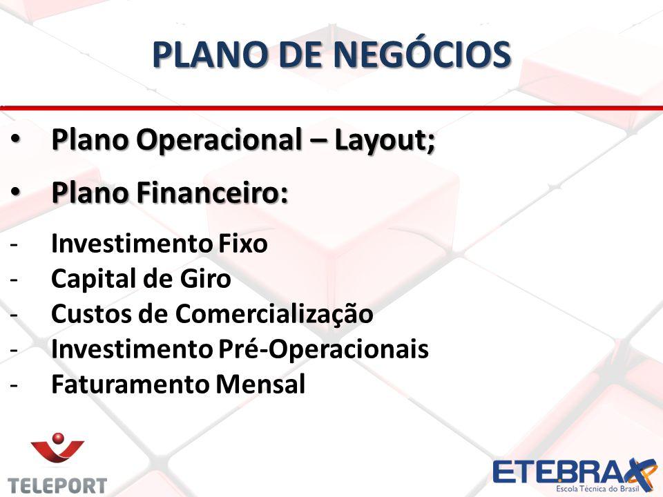PLANO DE NEGÓCIOS Plano Operacional – Layout; Plano Financeiro: