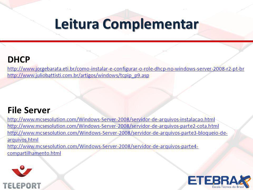Leitura Complementar DHCP File Server