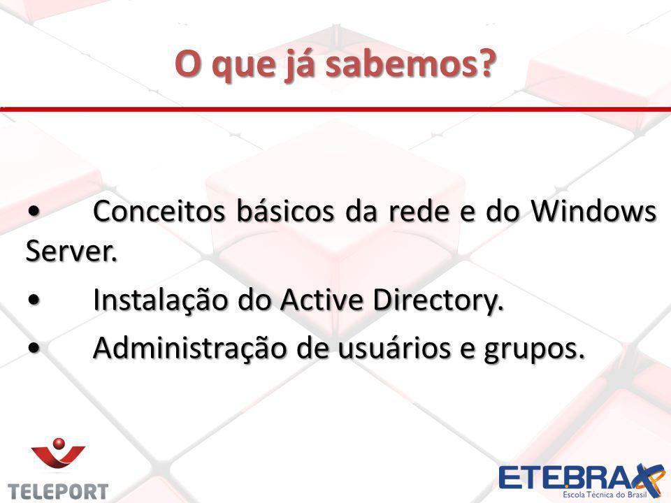 O que já sabemos Conceitos básicos da rede e do Windows Server.