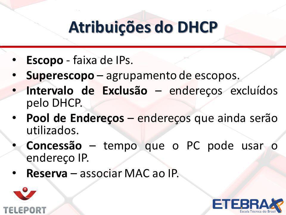 Atribuições do DHCP Escopo - faixa de IPs.