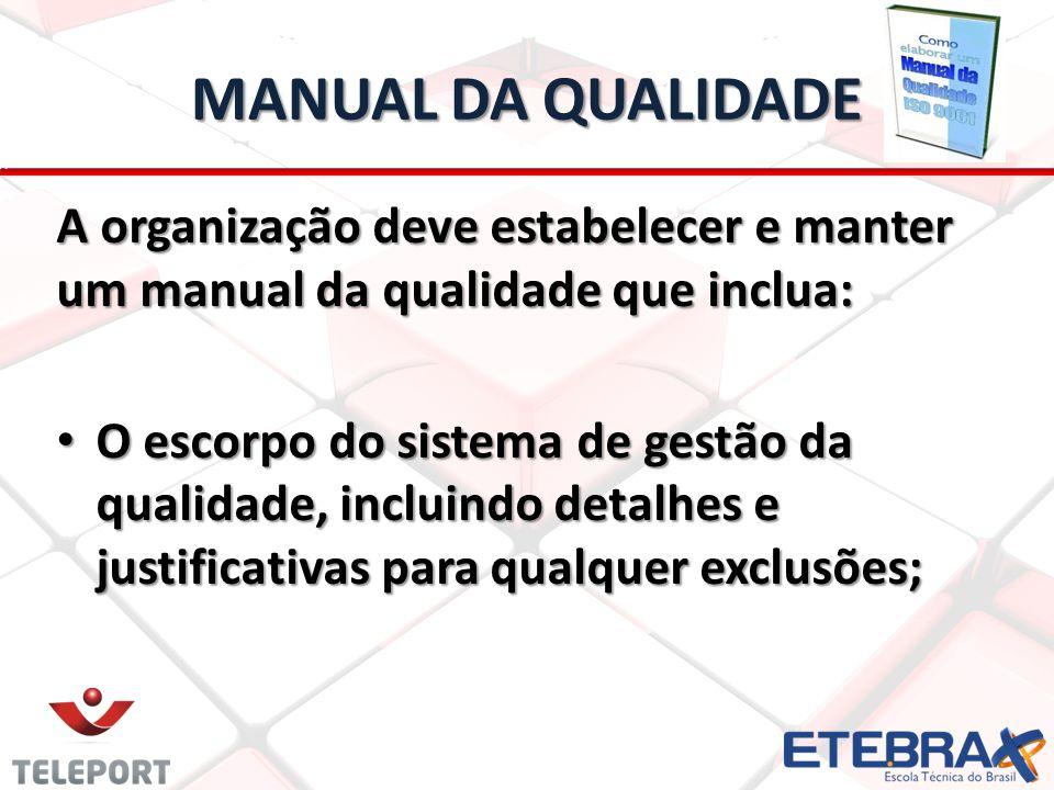 MANUAL DA QUALIDADE A organização deve estabelecer e manter um manual da qualidade que inclua: