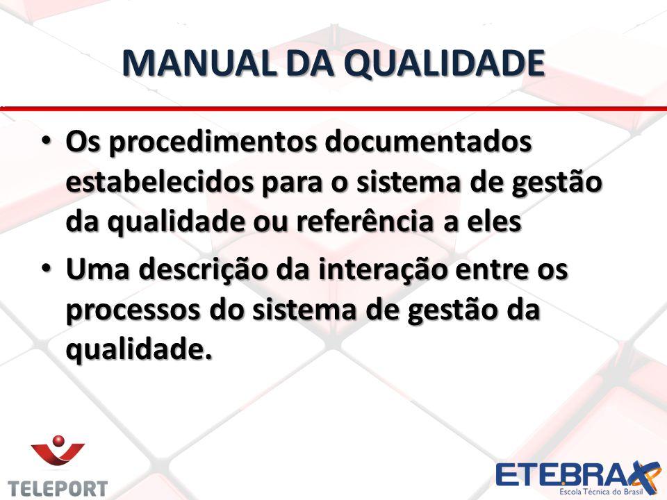MANUAL DA QUALIDADE Os procedimentos documentados estabelecidos para o sistema de gestão da qualidade ou referência a eles.