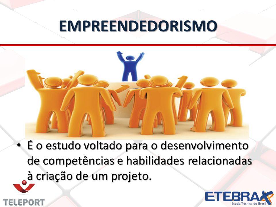 EMPREENDEDORISMO É o estudo voltado para o desenvolvimento de competências e habilidades relacionadas à criação de um projeto.