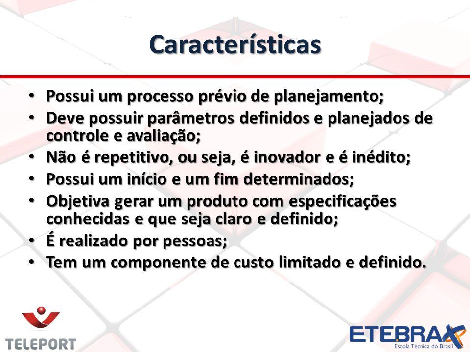 Características Possui um processo prévio de planejamento;