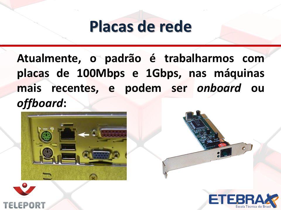Placas de rede Atualmente, o padrão é trabalharmos com placas de 100Mbps e 1Gbps, nas máquinas mais recentes, e podem ser onboard ou offboard: