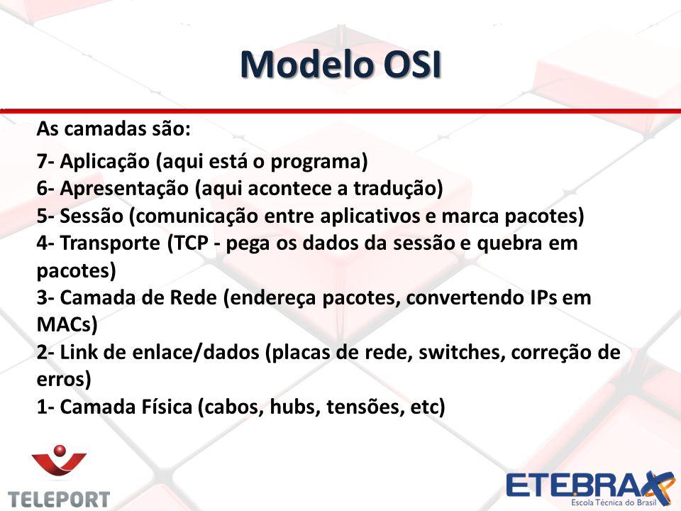 Modelo OSI As camadas são:
