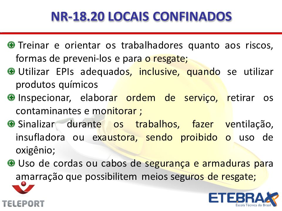 NR-18.20 LOCAIS CONFINADOS Treinar e orientar os trabalhadores quanto aos riscos, formas de preveni-los e para o resgate;