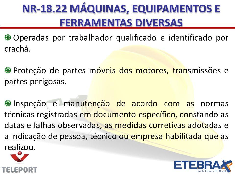 NR-18.22 MÁQUINAS, EQUIPAMENTOS E FERRAMENTAS DIVERSAS