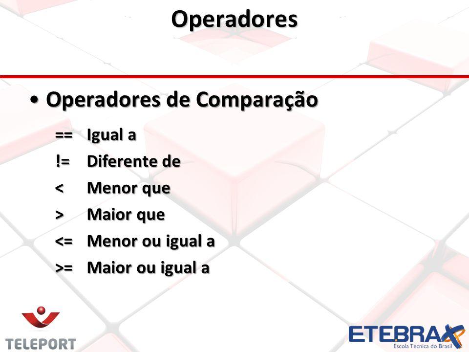 Operadores Operadores de Comparação == Igual a != Diferente de <
