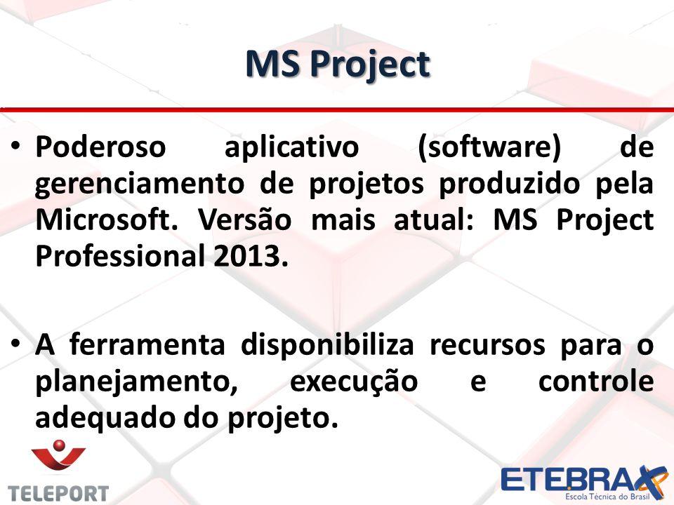 MS Project Poderoso aplicativo (software) de gerenciamento de projetos produzido pela Microsoft. Versão mais atual: MS Project Professional 2013.