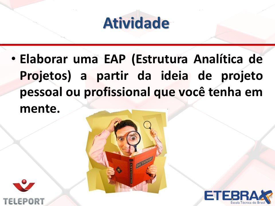 Atividade Elaborar uma EAP (Estrutura Analítica de Projetos) a partir da ideia de projeto pessoal ou profissional que você tenha em mente.