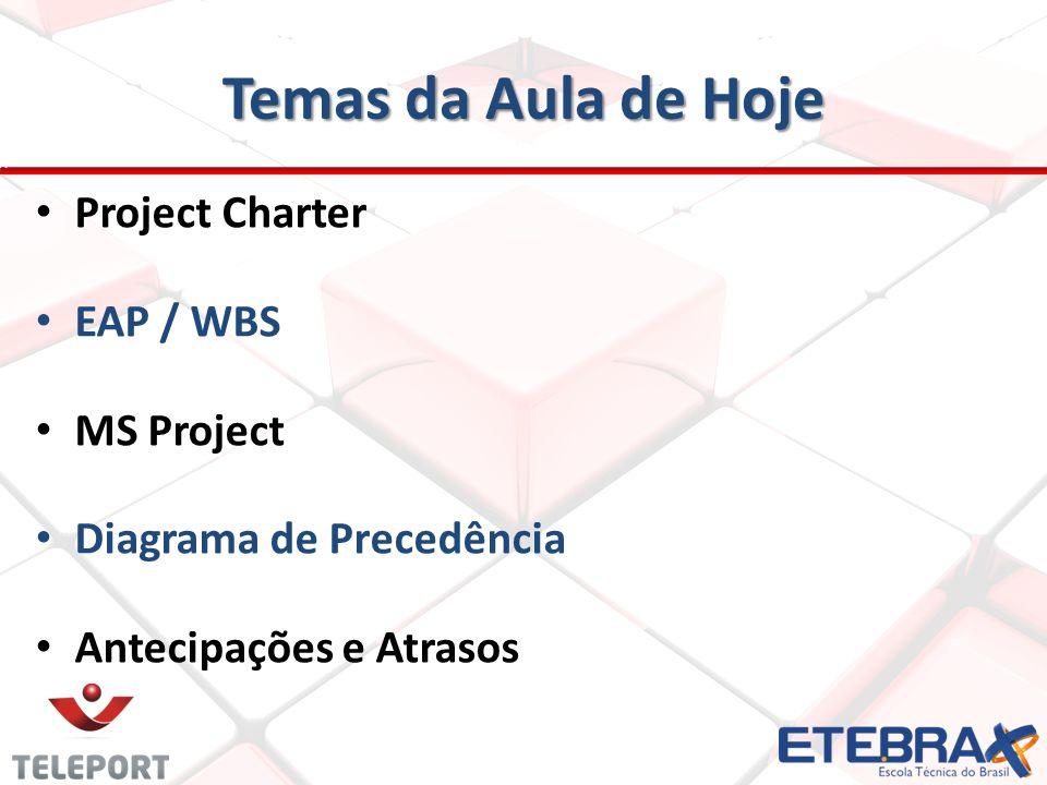 Temas da Aula de Hoje Project Charter EAP / WBS MS Project