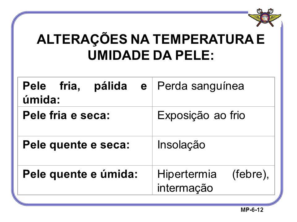ALTERAÇÕES NA TEMPERATURA E UMIDADE DA PELE: