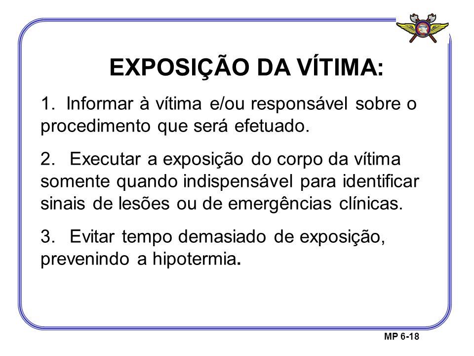 EXPOSIÇÃO DA VÍTIMA: 1. Informar à vítima e/ou responsável sobre o procedimento que será efetuado.