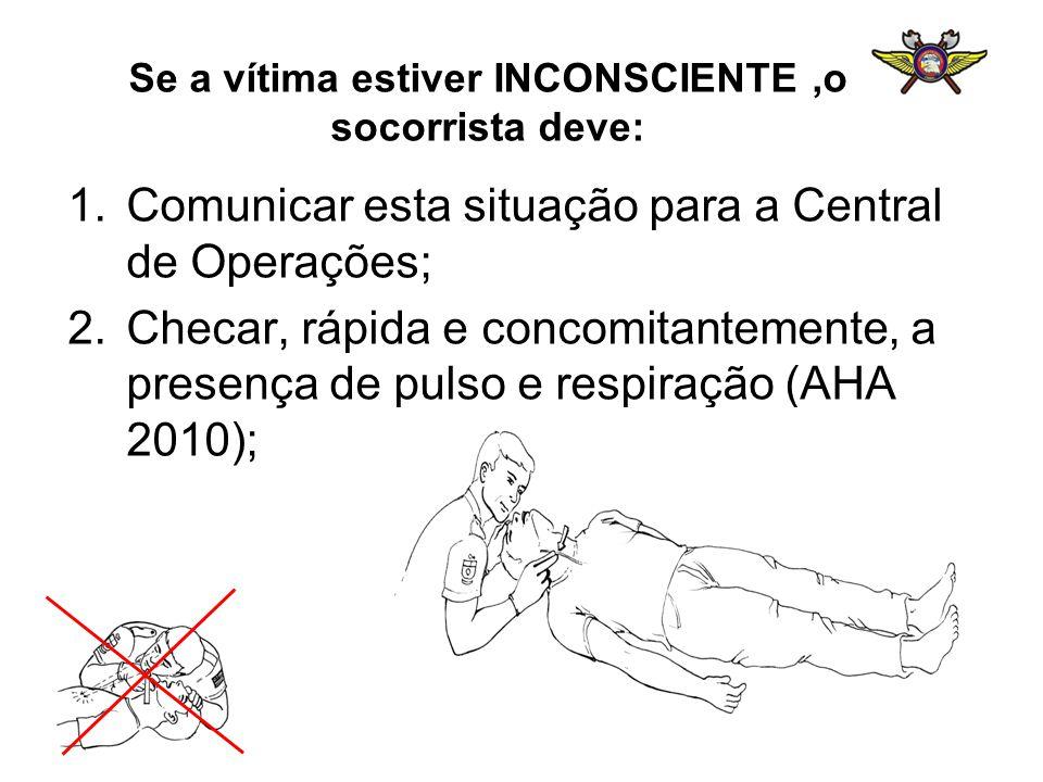 Se a vítima estiver INCONSCIENTE ,o socorrista deve: