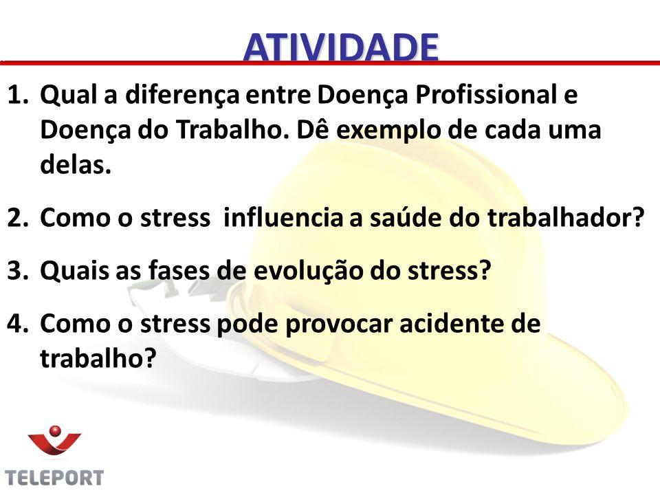 ATIVIDADE Qual a diferença entre Doença Profissional e Doença do Trabalho. Dê exemplo de cada uma delas.