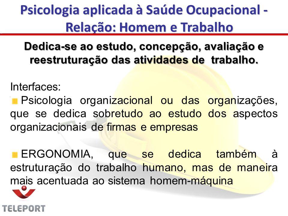 Psicologia aplicada à Saúde Ocupacional - Relação: Homem e Trabalho