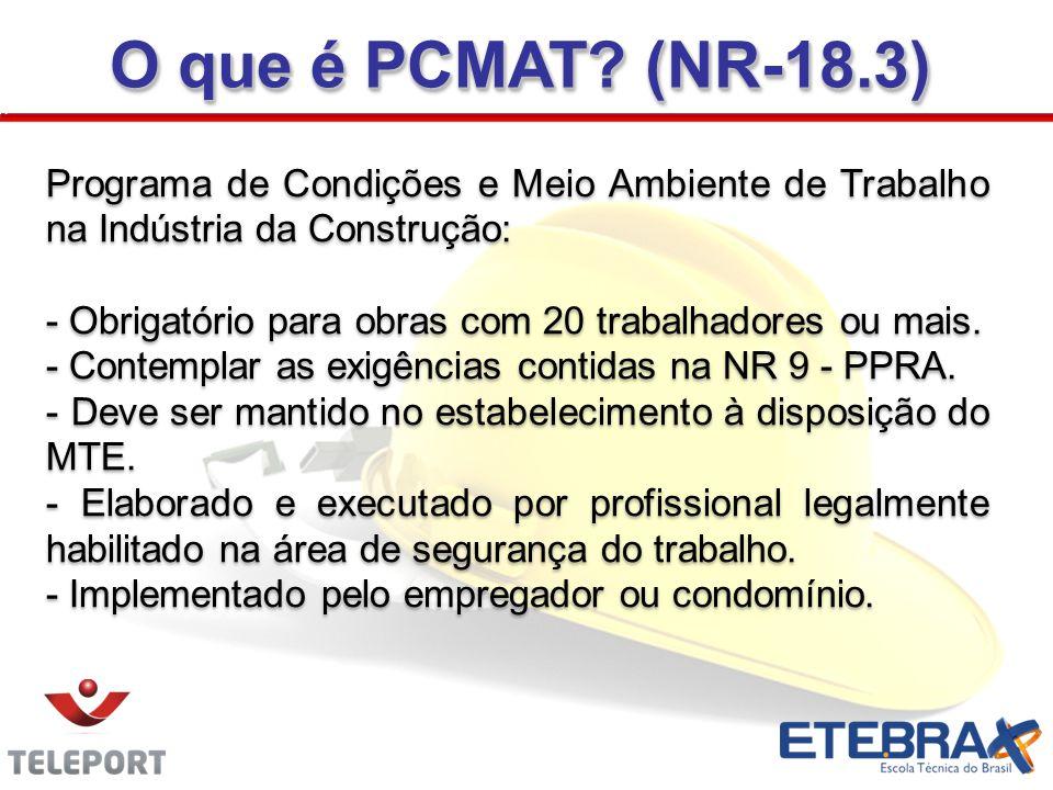 O que é PCMAT (NR-18.3) Programa de Condições e Meio Ambiente de Trabalho na Indústria da Construção:
