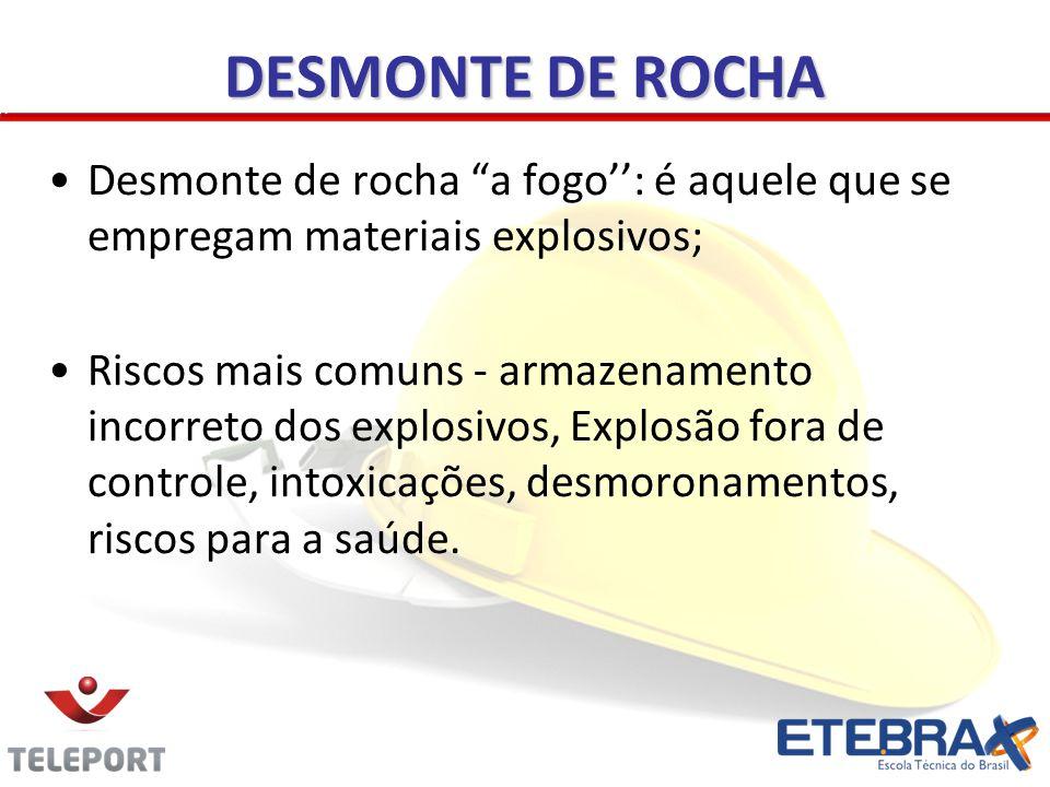 DESMONTE DE ROCHA Desmonte de rocha a fogo'': é aquele que se empregam materiais explosivos;