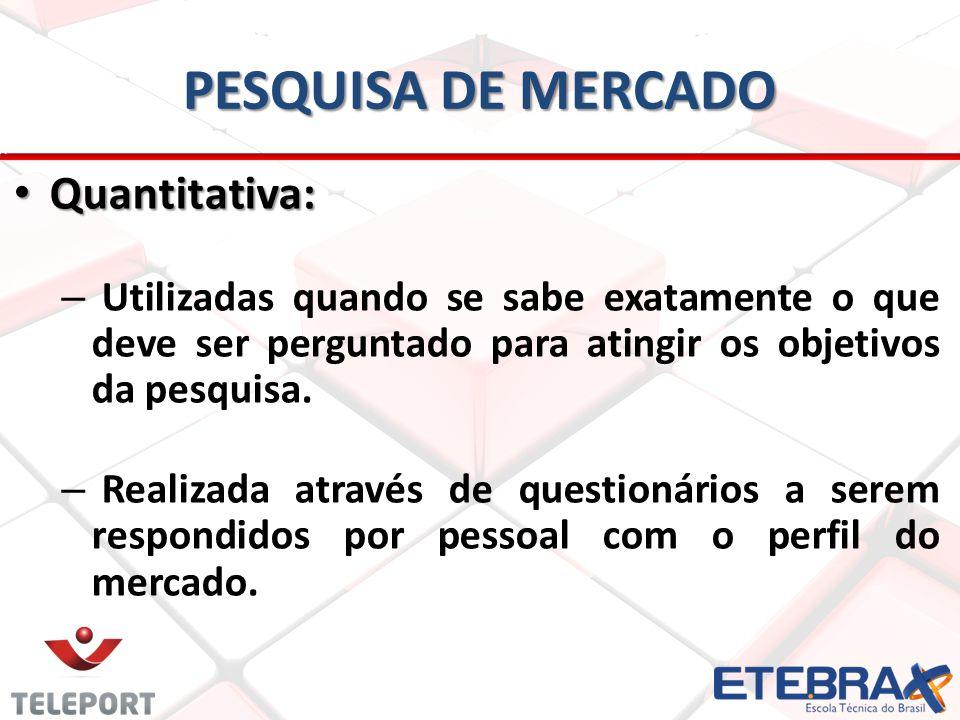 PESQUISA DE MERCADO Quantitativa: