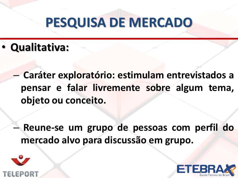 PESQUISA DE MERCADO Qualitativa: