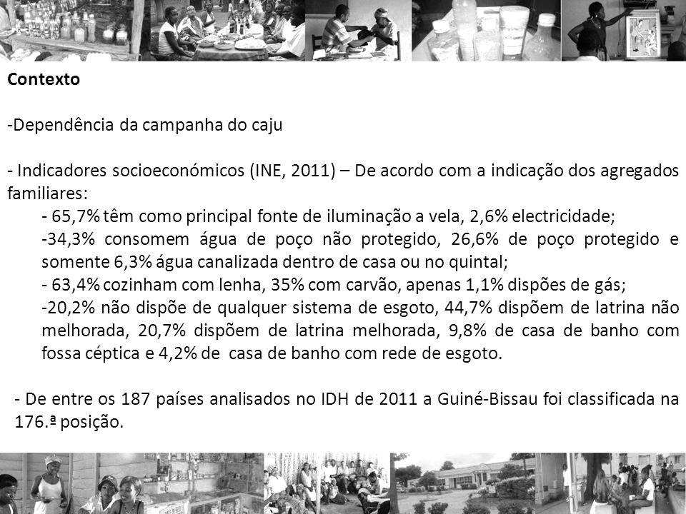 Contexto Dependência da campanha do caju. Indicadores socioeconómicos (INE, 2011) – De acordo com a indicação dos agregados familiares: