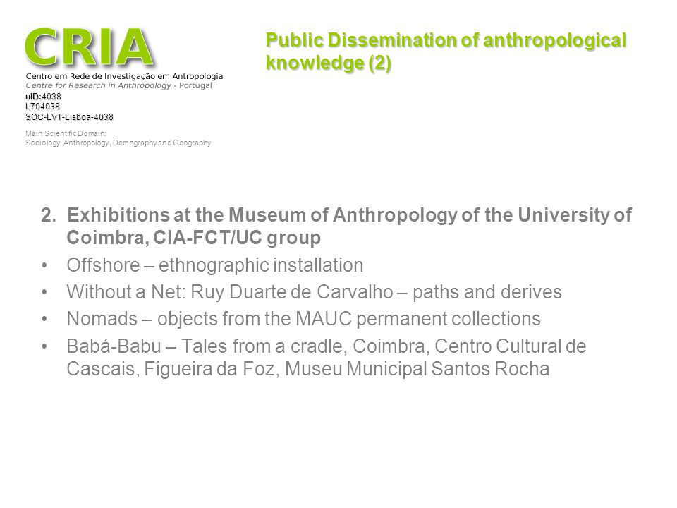 Public Dissemination of anthropological knowledge (2)